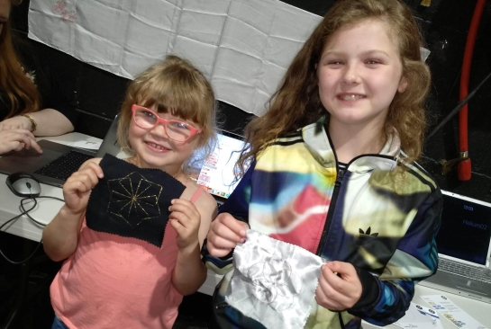 Sarah and Daisy from Antrim with their designs. (Parental permission to display picture).