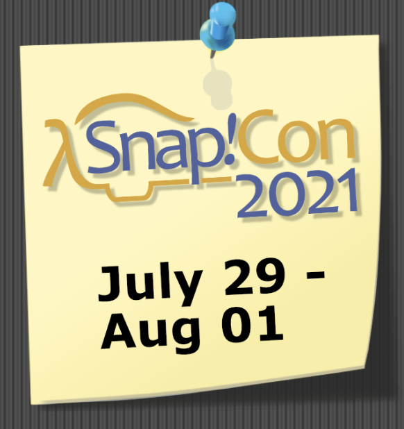 a yellow conference logo with text which reads Snap!Con2021 July29-Aug01